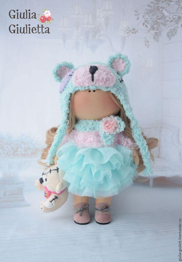 Купить Интерьерная куколка - трессы для кукол, бирюзовый, мишка тедди, шапка…