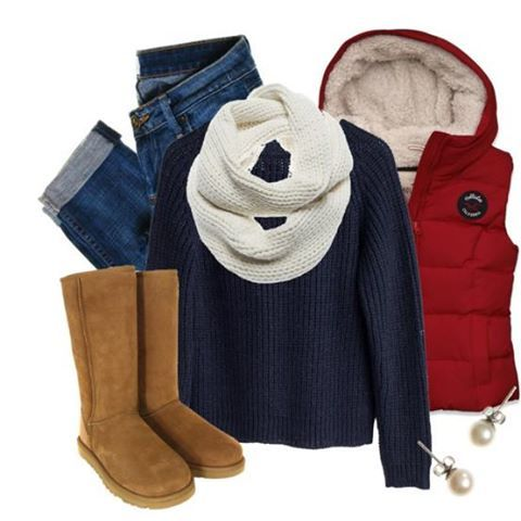 Winter outfit. Minus the uggs. Plus some cute boots. Where oh where do I find a winter vest that cute?