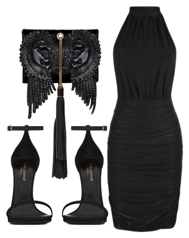"""Untitled #151"" by biannkabarakat ❤ liked on Polyvore featuring Yves Saint Laurent and Roberto Cavalli"