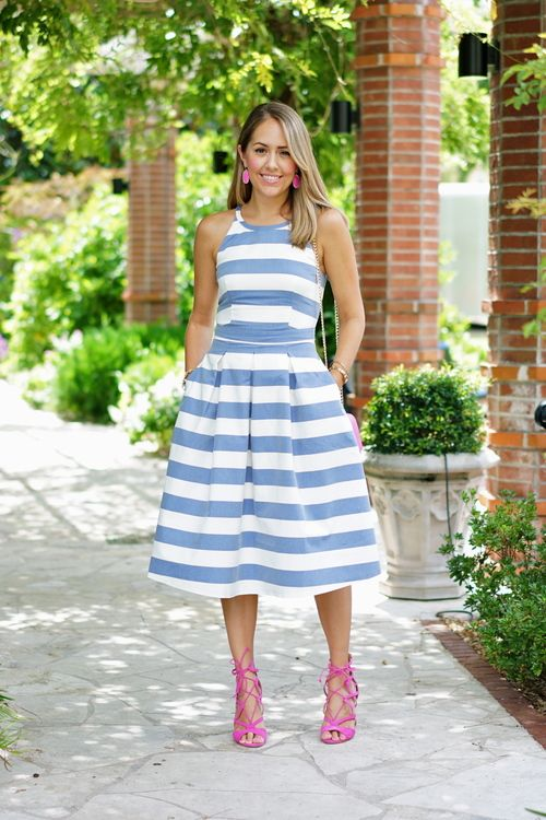 Blue stripe midi dress, pink shoes and earrings