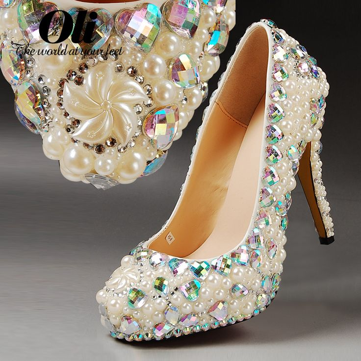 Мода плюс размер белые туфли на каблуках женщина свадебные туфли жемчужина горный хрусталь свадебные туфли хрустальные башмачки