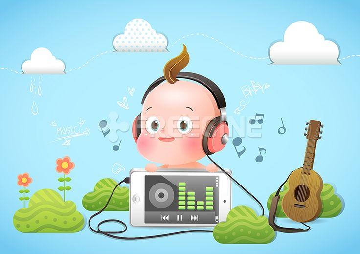 기타, 아기, 음악, 베이비, baby, 구름, 일러스트, freegine, 헤드폰, 에프지아이, FGI, ill100, ill100_001, 베이비001, ILL100a, Baby #유토이미지 #프리진 #utoimage #freegine 17637643