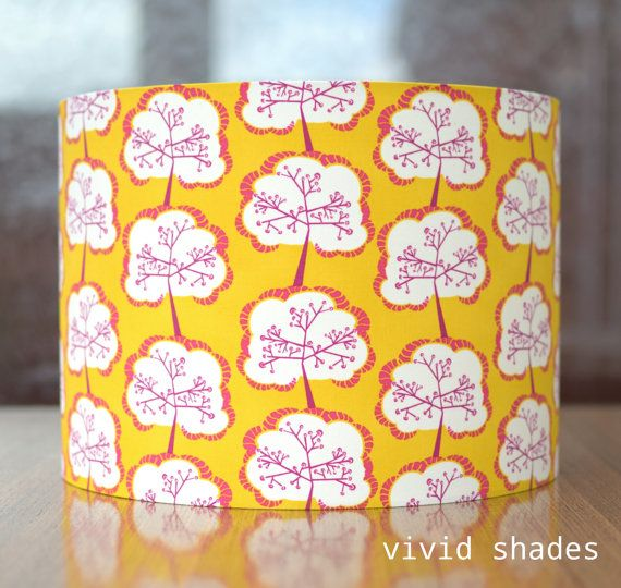The 31 best lampshades images on pinterest lamp shades light retro yellow tree fabric light lampshade handmade by vivid shades stylish japanese abstract pattern custom made funky gift aloadofball Choice Image