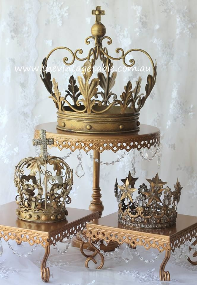 Use as centerpieces for Special Events. Our gilded French crowns for a Cinderella or Princess themed high tea or party.