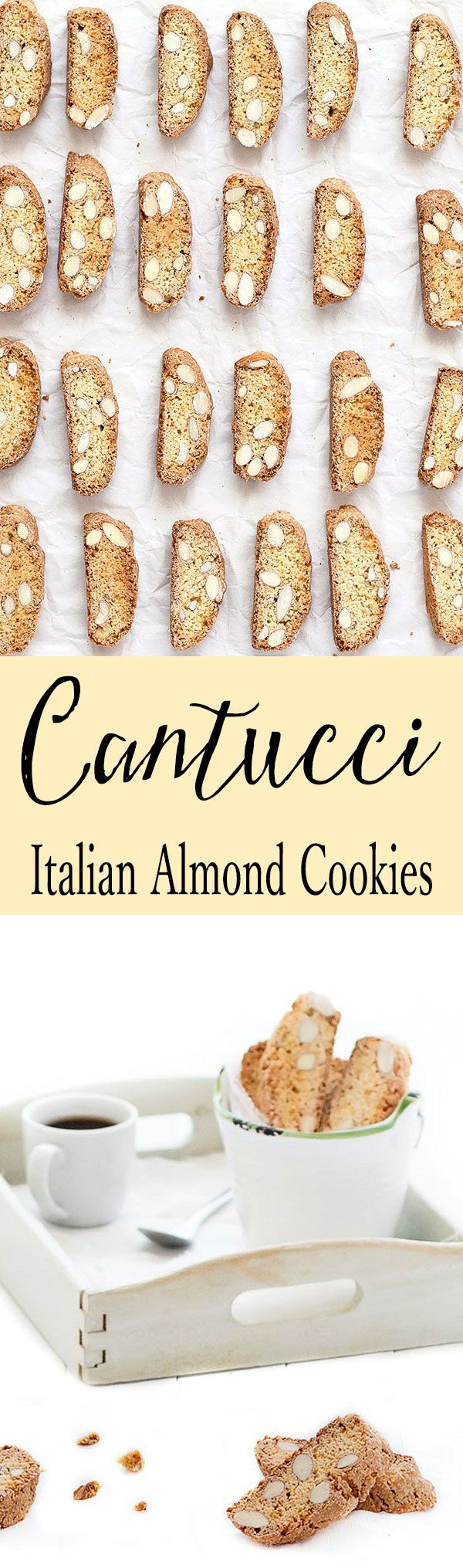 Cantucci are crunchy almond Italian cookies. They have no butter and no oil ...feel good about eating more than one! Replace almonds with chocolate chips, hazelnuts, pistachios or dried fruits. The possibilities are endless. These cookies last for several weeks and they are also perfect to give as a homemade gift.
