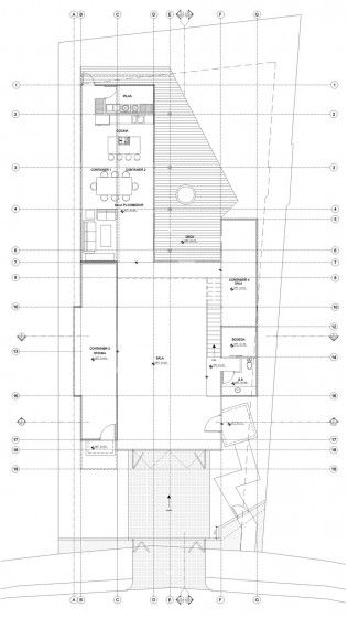 Plano de casa construida con contenedor