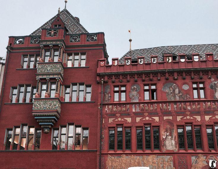 basel switzerland oldtown altstadt marketplace marktplatz townhall rathaus red frescos medieval renaissance