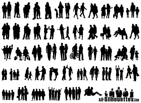 Group Of People Vector Silhouette Free. More Free Vector Graphics, www.123freevectors.com