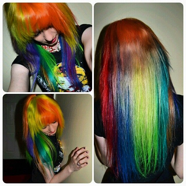 My new Rainbow hair!  @manicpanicnyc hair colours from @beserk with everything else from @tragicb.  #colouredhair #colouredhairgirls #dyedgirls #dyedhair #manicpanic #rainbowhair #tragicbeautiful
