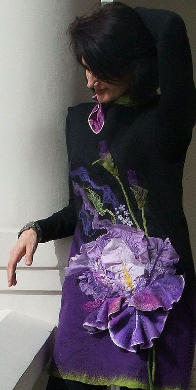 """туника """"Mon Iris"""" - тёмно-фиолетовый,ирис,туника валяная,фиолетовый цвет"""