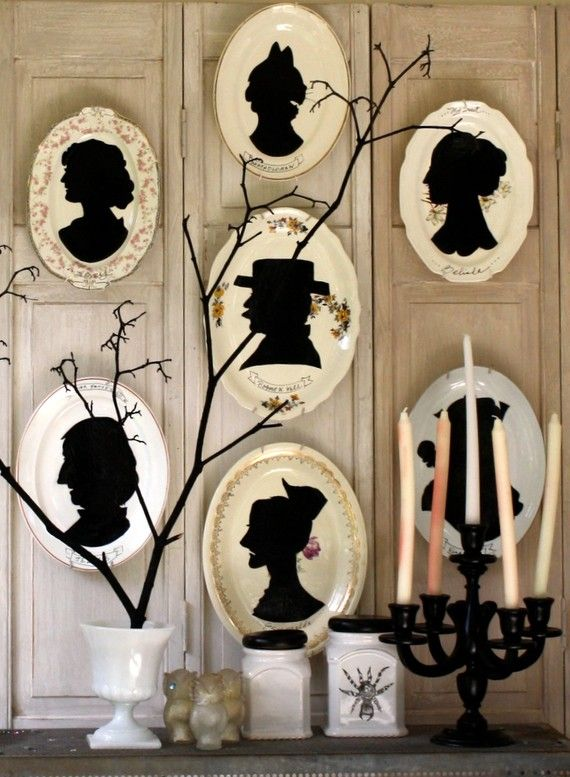 Ceramic Plate Silhouette Collection (home decor, wall, plates, silhouette, black, beige)