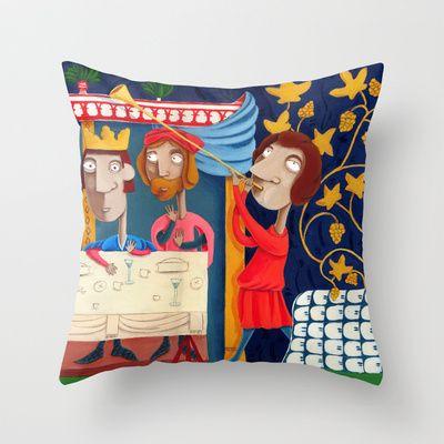 L'Epoca di Federico II - Il banchetto Throw Pillow by Francesca Cosanti - $20.00