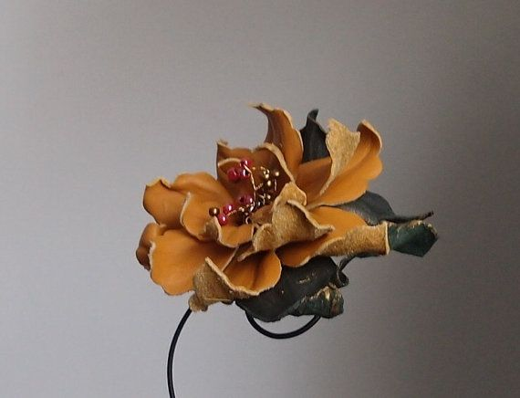 Beautiful leather  flower brooch  ocher colour by Sofisty on Etsy, €20.00