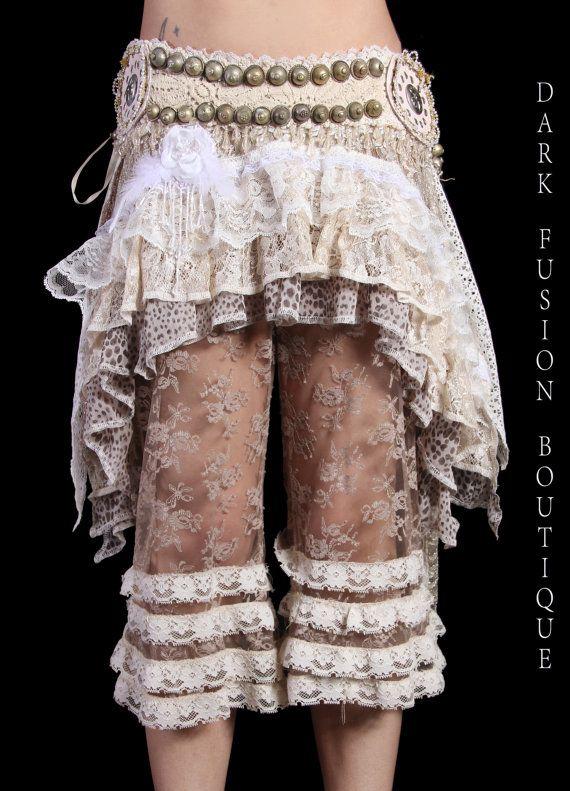 Skirt, LARGE, Cream Combo, Ruffles, Cabaret, Vaudeville, Steampunk, Wrap, Dark Fusion Boutique, Noir, Gothic, BellyDance