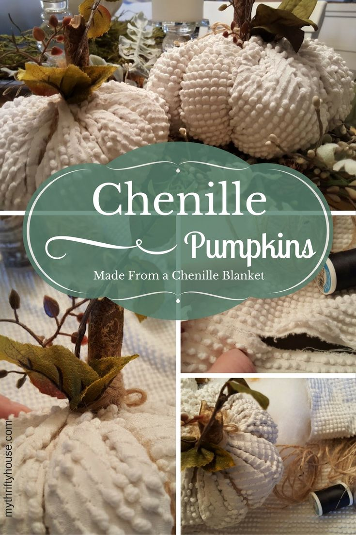These chenille pumpkins were made from a blanket that had seen better days because it was so worn, torn and frayed. These chenille pumpkins are super easy to make, not to mention super cute too.