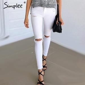 Simplee white hole ripped jeans