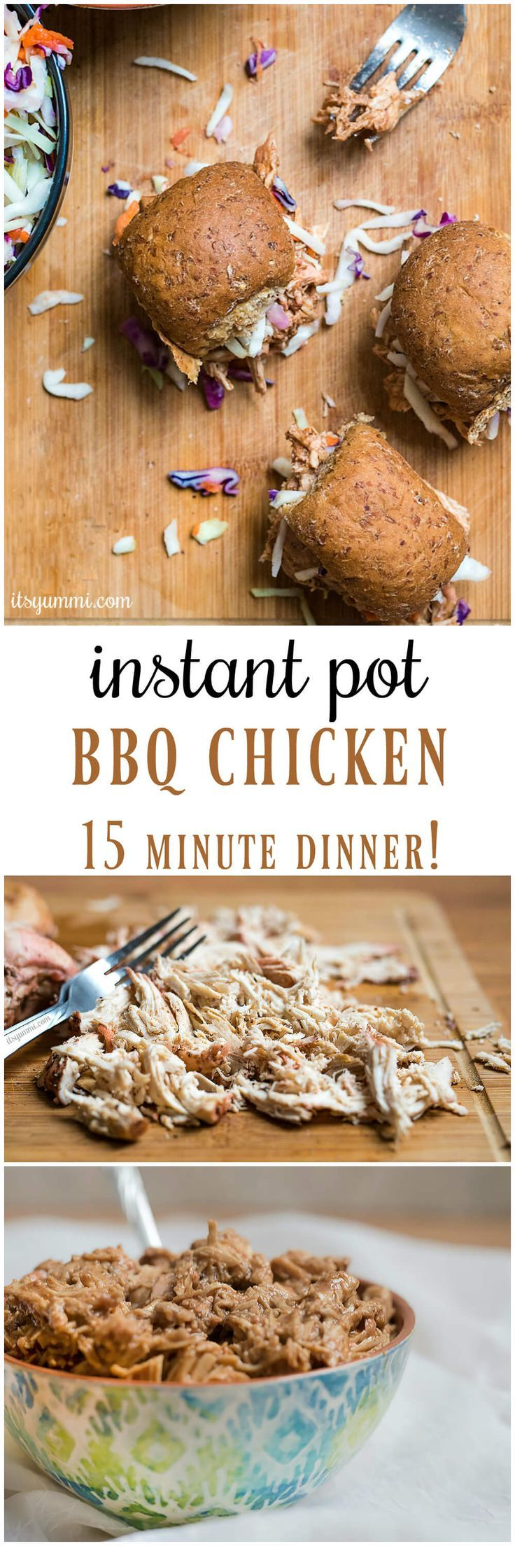 Instant Pot BBQ chicken - an easy pressure cooker chicken recipe, made in 15 minutes! Add it to your favorite soup or casserole recipe. Or, make Instant Pot pulled chicken sliders.#instantpot #recipe #bbq #pressurecooker via @itsyummi