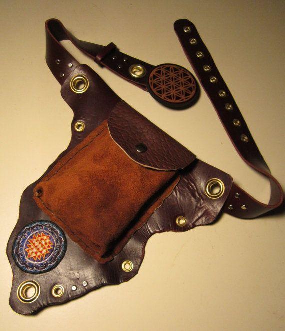 Hand Made Leather UTILITY BELT,FREE Shipping!, w/ Sri Yantra, Flower of Life, Elk, Buffalo, Latigo, Brass