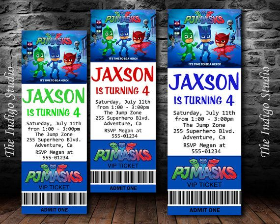 Pj Masks Birthday Invitation DIY Printable By TheIndigoStudio