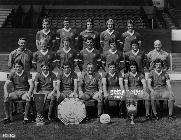 The Liverpool football team after winning the League Championship the Charity Shield and the UEFA Cup Joey Jones John Toshack Ray Clemence Phil...