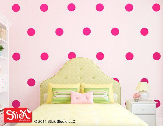 Pink Polka Dot Wall Decals  Pink Polka Dot by StickStudioLLC, $25.00