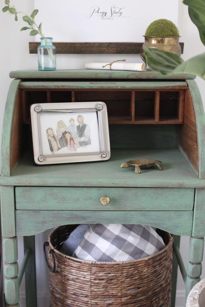 Small Desk Vignette Decor Painted Furniture Green Desk