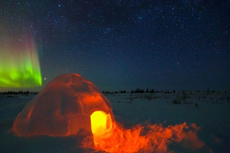 Illuminated Igloo and Aurora in Churchill, Manitoba. Photo by David Marx.