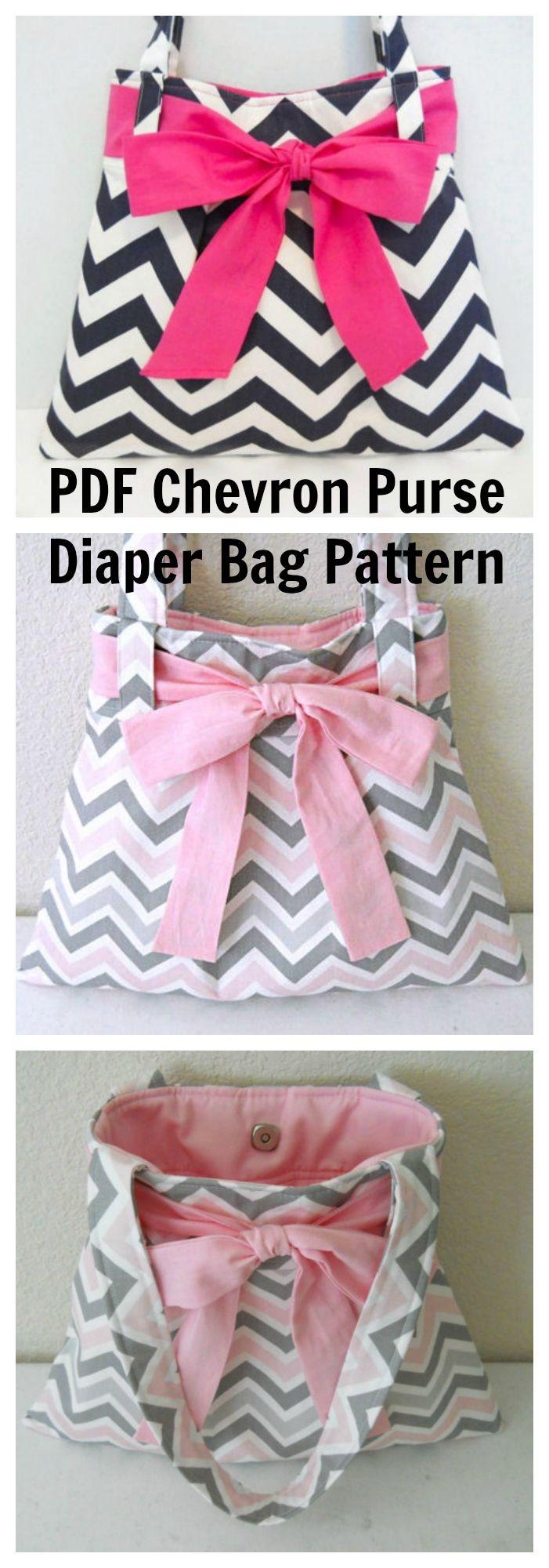 Chevron Purse Diaper Bag pdf sewing pattern.