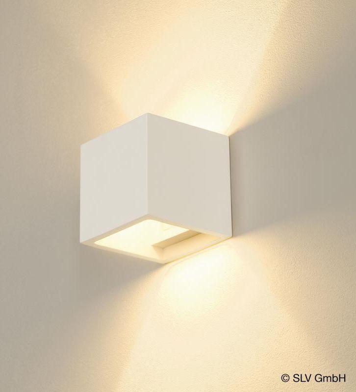 SLV Plastra Cube: Mit dieser Wandleuchte kann jeder Raum einzigartig gestaltet werden. Die Leuchte ist aus Gips und kann nach Grundierung individuell …