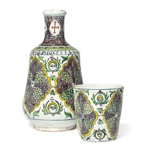 A KUTAHYA POTTERY DECANTER AND GOBLET OTTOMAN TURKEY, EARLY 20TH CENTURY