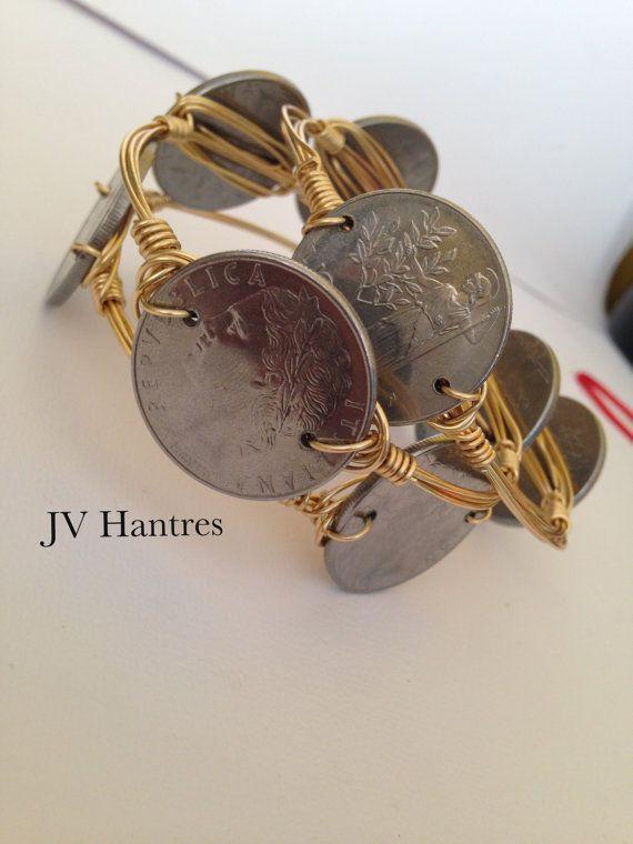 Italian Lira Coin Wire Wrap Bracelet QTY 1 by JVHANTRES on Etsy