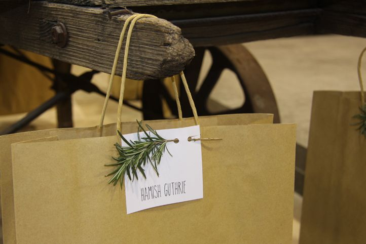 LETTUCE & CO - STYLE. EAT. PLAY 'natural, native, humble - client luncheon' concept design & styling by lettuce & co, rosemary twig, personalised paper gift bags