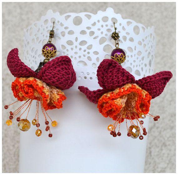 purple flower earrings,ooak crochet earrings,fuchsia earrings,crochet jewelry,statement earrings,flower earrings,purple earings,gift for her