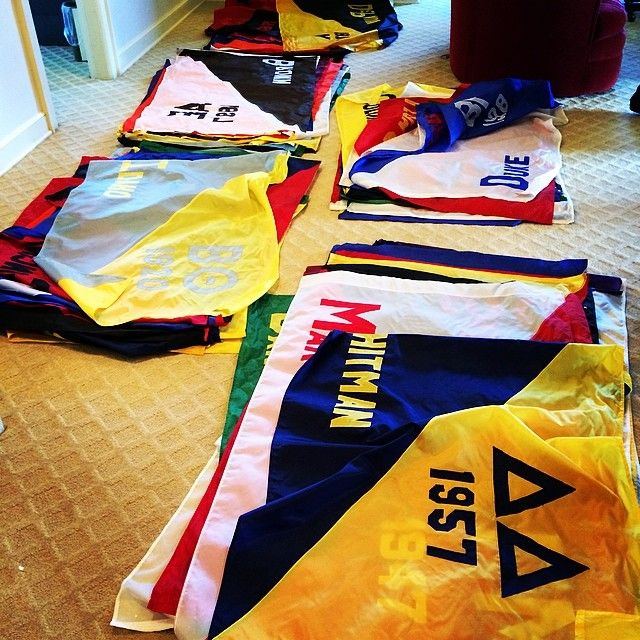 Flags for display at Grand Convention have been sorted and packed! #Theta14 #theta1870 grandconvention.kappaalphatheta.org