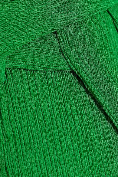 Protagonist - Plissé-crepe Wrap-effect Midi Skirt - Bright green - US6