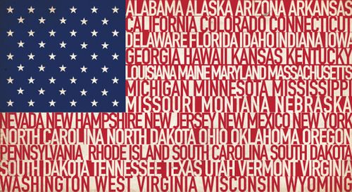 American flag with names of states as the stripes