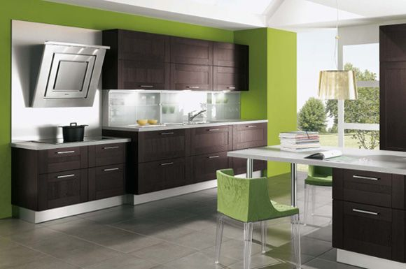 lime walls with espresso kitchen cabinets by alno