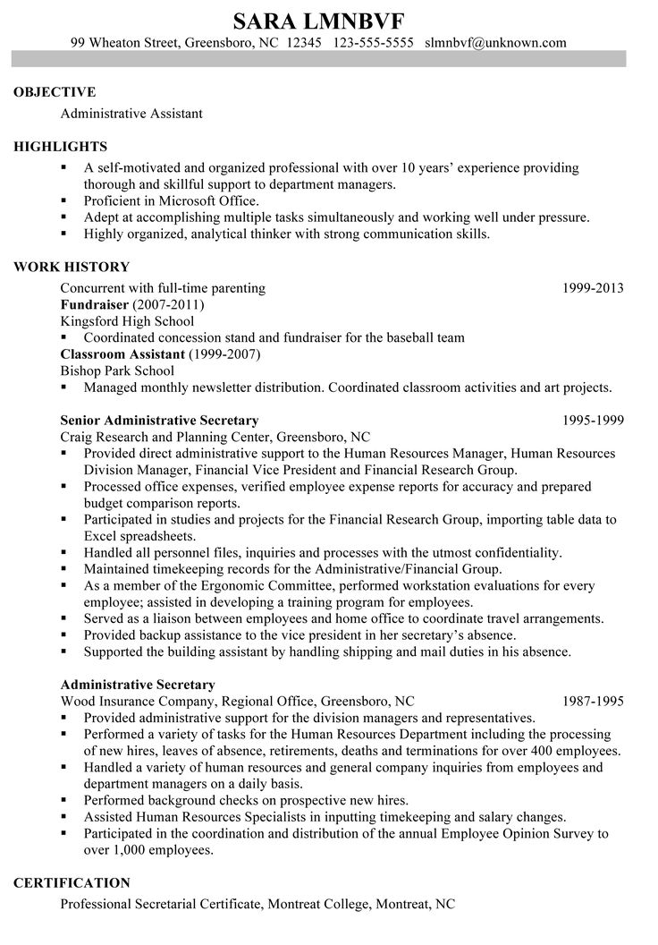 12 best Resume images on Pinterest Administrative assistant - secretary resume template