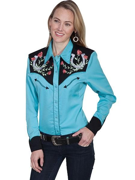 29dd62137a95b SCULLY TURQUOISE HORSESHOE AND ROSE WESTERN SHIRT - Cowgirl Delight