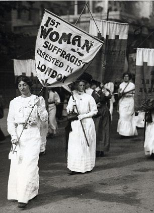 """Suffragettes protest 1913. Notice the """"Suffragette look"""""""