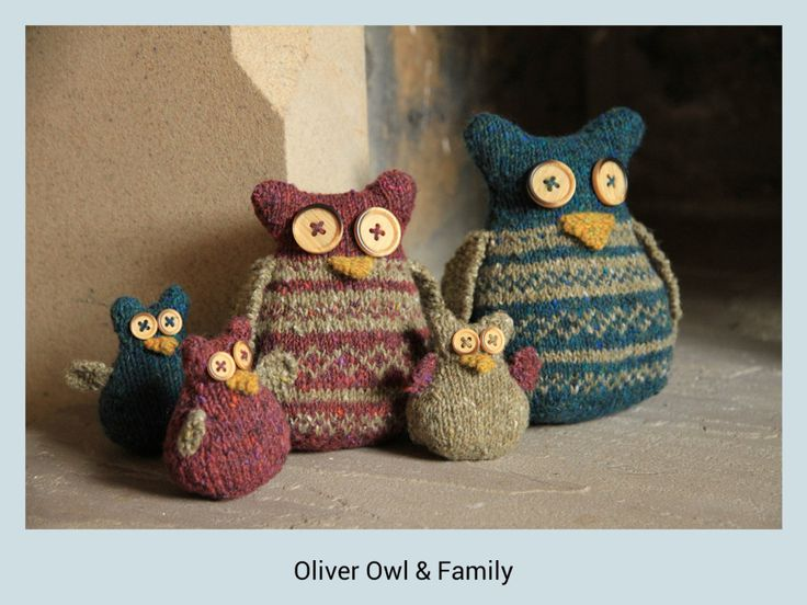 Oliver Owl & Family #knitted #owls #Rowan