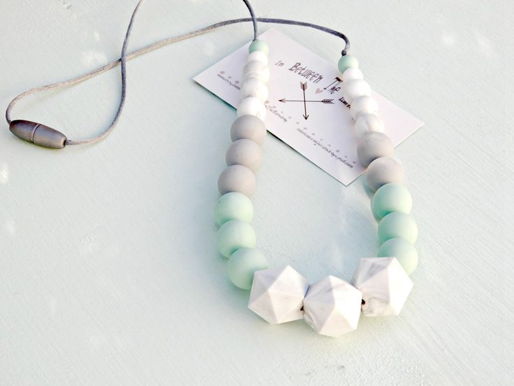 Silicone teething necklace   *100% Non-toxic  *BPA Free  *Lead Free  *PVC Free  *Mercury Free  #nursing necklace #teethe jewelry #teething # teethingkit  #pregnant #pregnancychime #etsy
