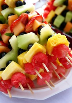 (Party food) fruit kabobs