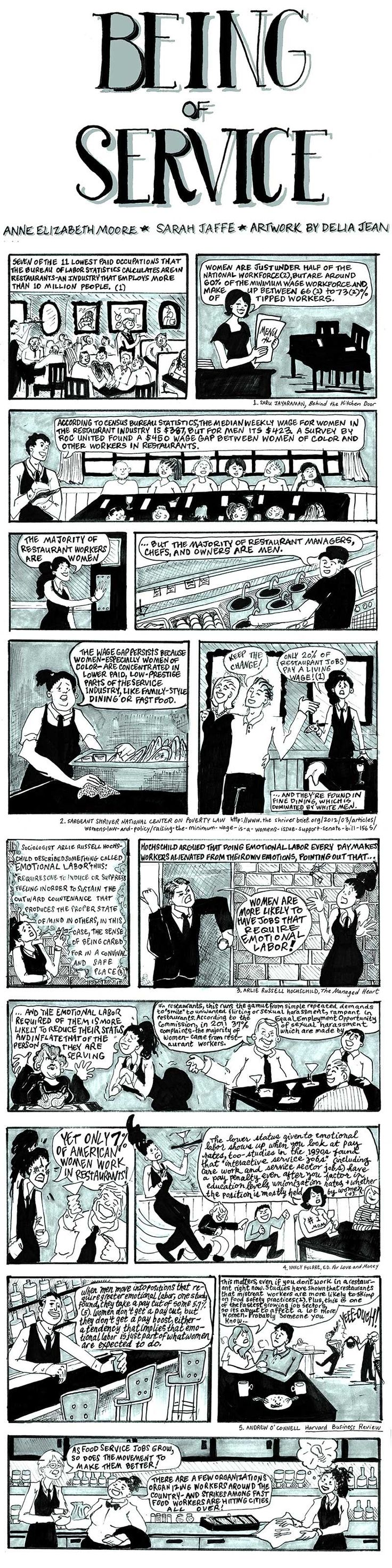 """A collaboration with labor reporter Sarah Jaffe, comics artist Delia Jean and Anne Elizabeth Moore, """"Being of Service"""" explains what's behind the nationwide food service worker protests."""