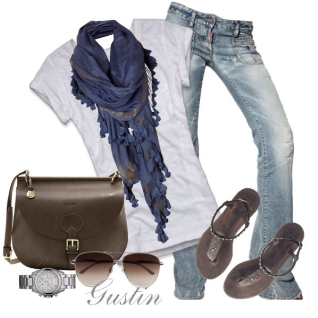 Spring: tees, light scarves, distressed jeans