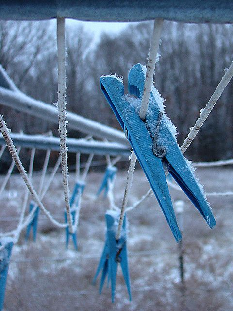 Blue clothespins by Genevieve Howard~~oh yes my clothes froze on the clothing line in Iwakuni too funny!!