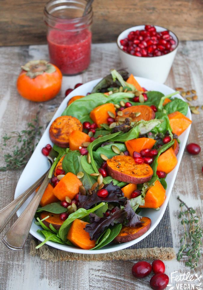 Sweet potato and persimmon salad with pomegranate and cranberry vinaigrette