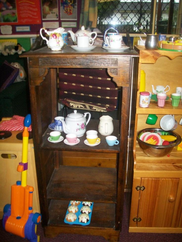 Homecorner (we use real plates, tea cups and tea pots.)