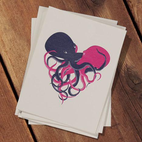 Octopus Love. via http://wkstudio.bigcartel.com/product/squirm-card