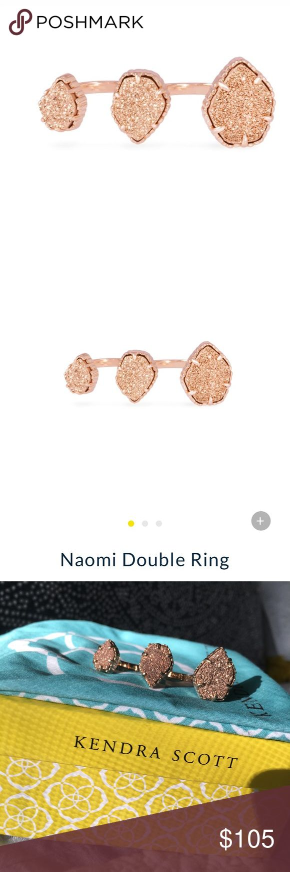Kendra Scott Naomi Double Ring - Rose Gold Sparkle and shine 🌟 Double ring in rose gold druzy by Kendra Scott. Box & jewelry bag included. This ring is gorgeous, unique, and barely worn. Kendra Scott Jewelry Rings